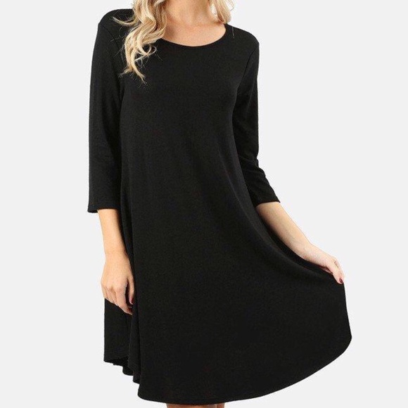 Plus Size BLACK A line Swing dress with pockets Boutique